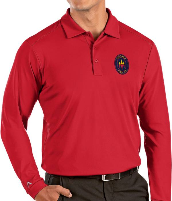 Antigua Men's Chicago Fire Red Tribute Long Sleeve Performance Polo product image