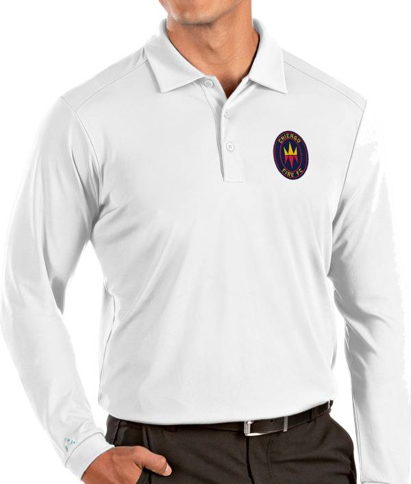 Antigua Men's Chicago Fire White Tribute Long Sleeve Performance Polo product image