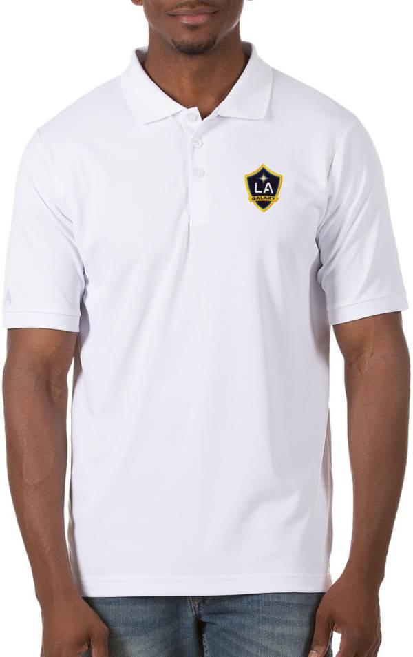 Antigua Men's Los Angeles Galaxy White Legacy Pique Polo product image