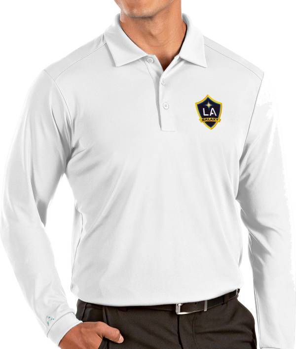 Antigua Men's Los Angeles Galaxy White Tribute Long Sleeve Performance Polo product image