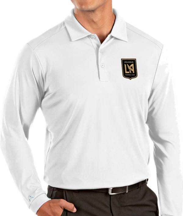 Antigua Men's Los Angeles FC White Tribute Long Sleeve Performance Polo product image