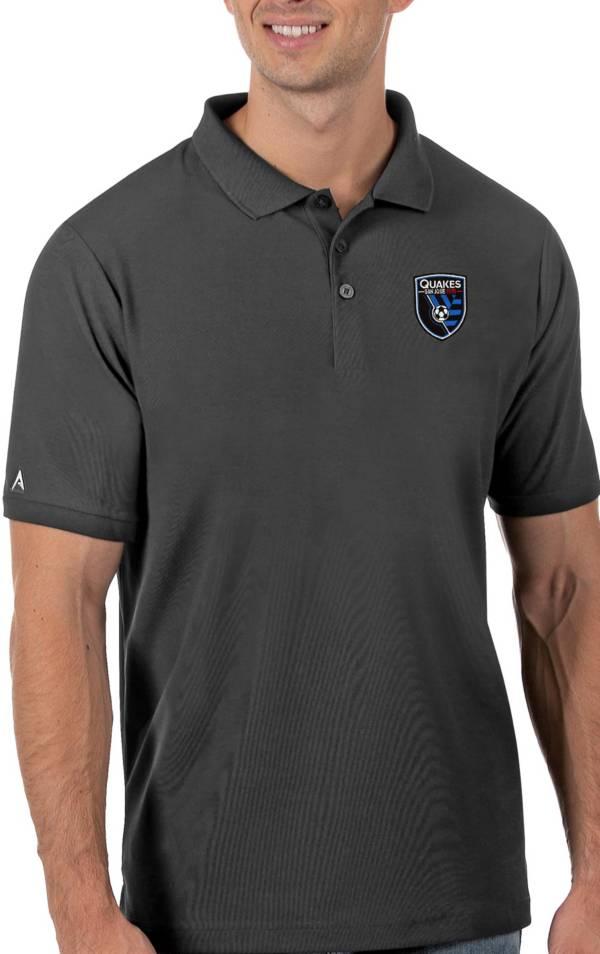 Antigua Men's San Jose Earthquakes Grey Legacy Pique Polo product image