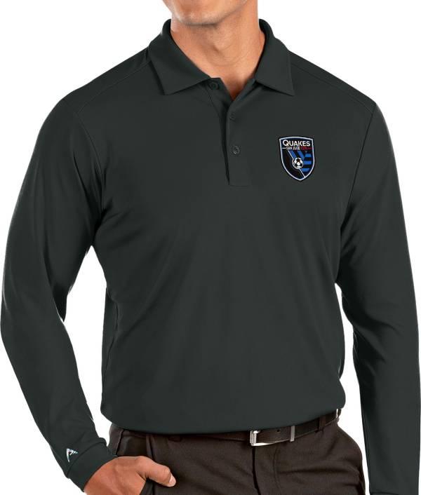 Antigua Men's San Jose Earthquakes Grey Tribute Long Sleeve Performance Polo product image