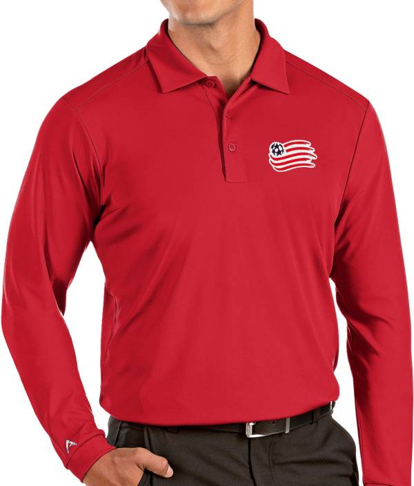 Antigua Men's New England Revolution Red Tribute Long Sleeve Performance Polo product image