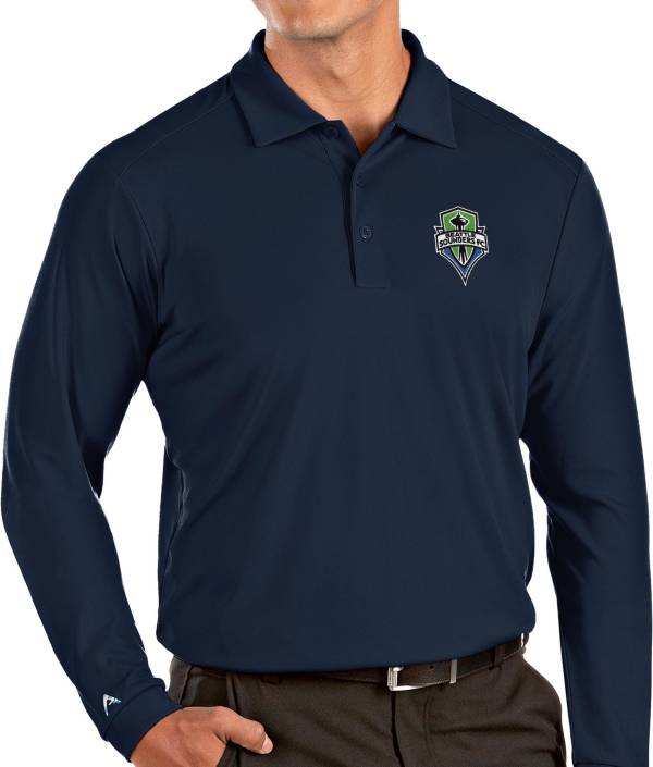 Antigua Men's Seattle Sounders Navy Tribute Long Sleeve Performance Polo product image