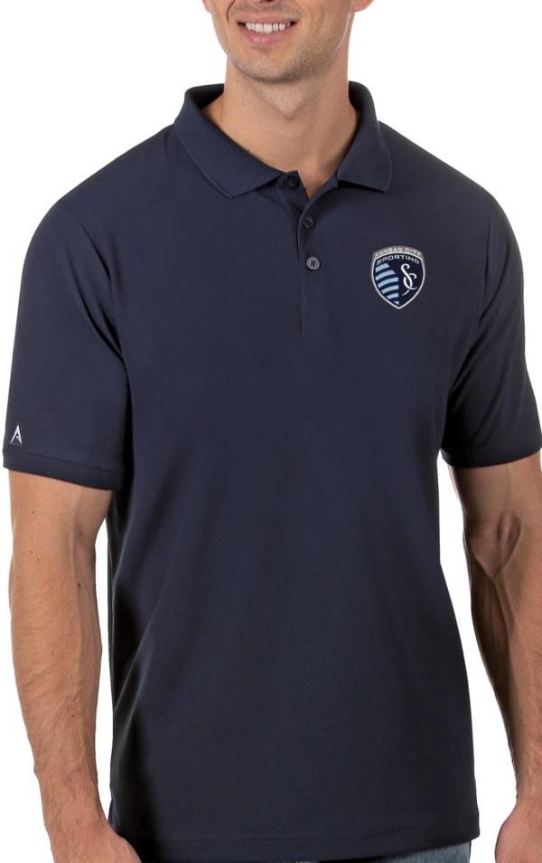 Antigua Men's Sporting Kansas City Navy Legacy Pique Polo product image