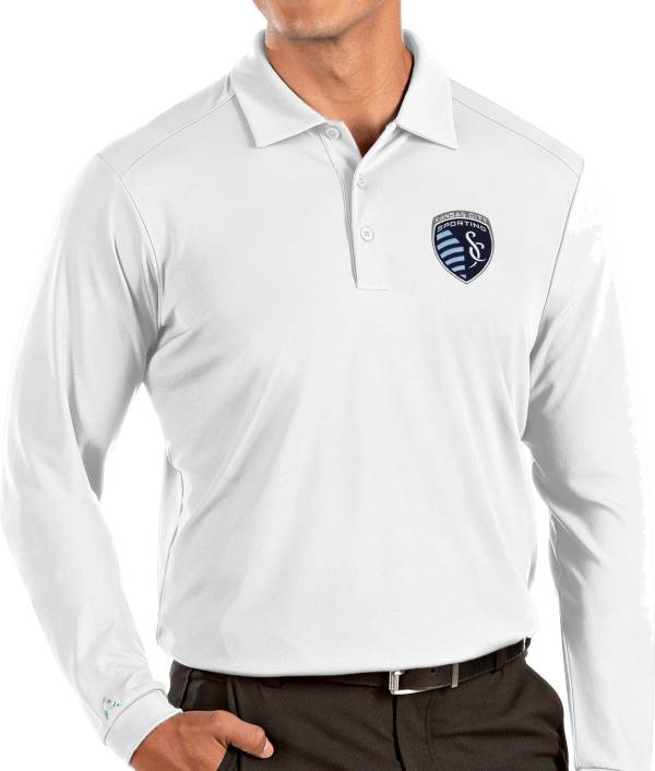 Antigua Men's Sporting Kansas City White Tribute Long Sleeve Performance Polo product image