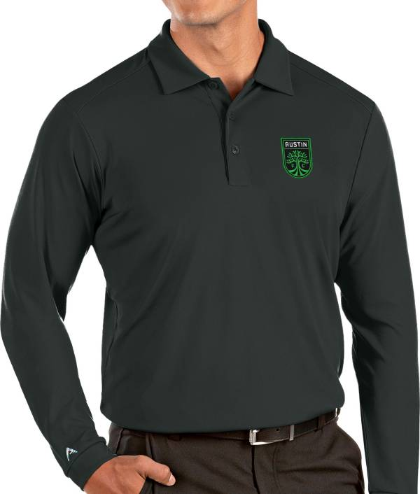 Antigua Men's Austin FC Grey Tribute Long Sleeve Performance Polo product image