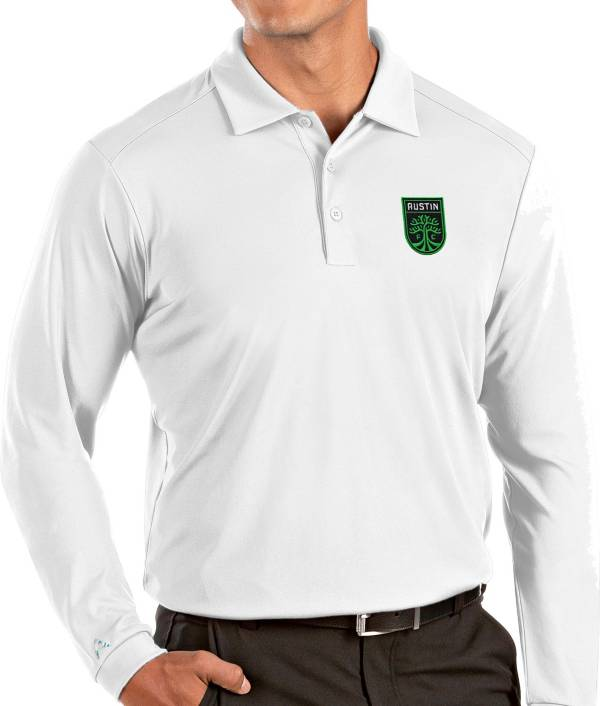 Antigua Men's Austin FC White Tribute Long Sleeve Performance Polo product image