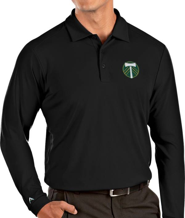 Antigua Men's Portland Timbers Black Tribute Long Sleeve Performance Polo product image