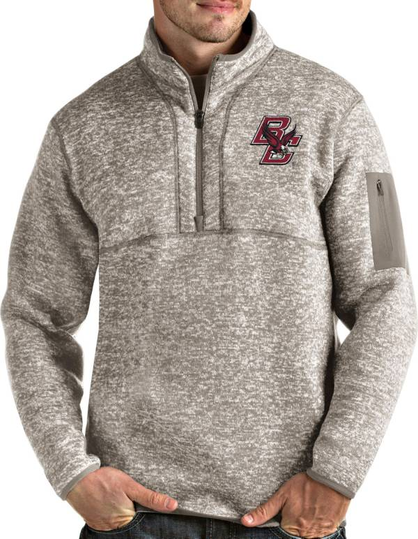 Antigua Men's Boston College Eagles Oatmeal Fortune Pullover Black Jacket product image