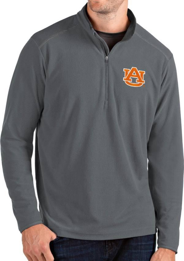 Antigua Men's Auburn Tigers Grey Glacier Quarter-Zip Shirt product image