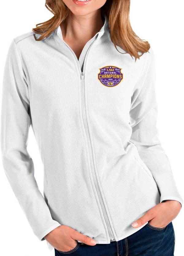 Antigua Women's 2019 National Champions LSU Tigers Glacier Full-Zip White Jacket product image