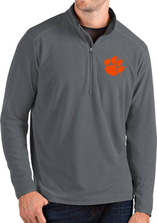 Antigua Men's Clemson Tigers Grey Glacier Quarter-Zip Shirt product image