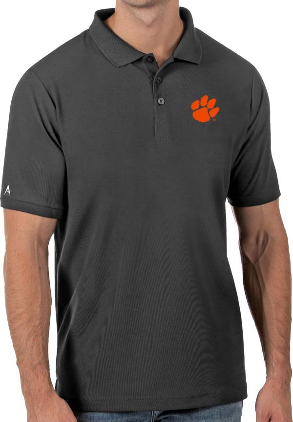 Antigua Men's Clemson Tigers Grey Legacy Pique Polo product image