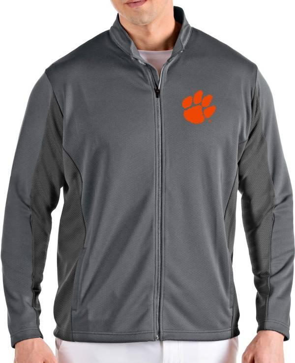 Antigua Men's Clemson Tigers Grey Passage Full-Zip Jacket product image