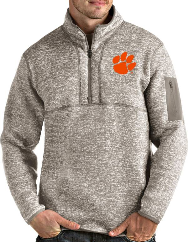 Antigua Men's Clemson Tigers Oatmeal Fortune Pullover Black Jacket product image