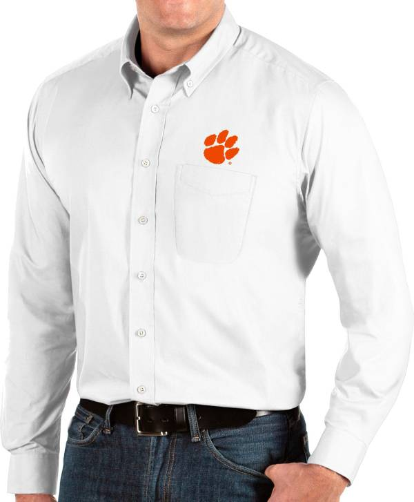 Antigua Men's Clemson Tigers Dynasty Long Sleeve Button-Down White Shirt product image