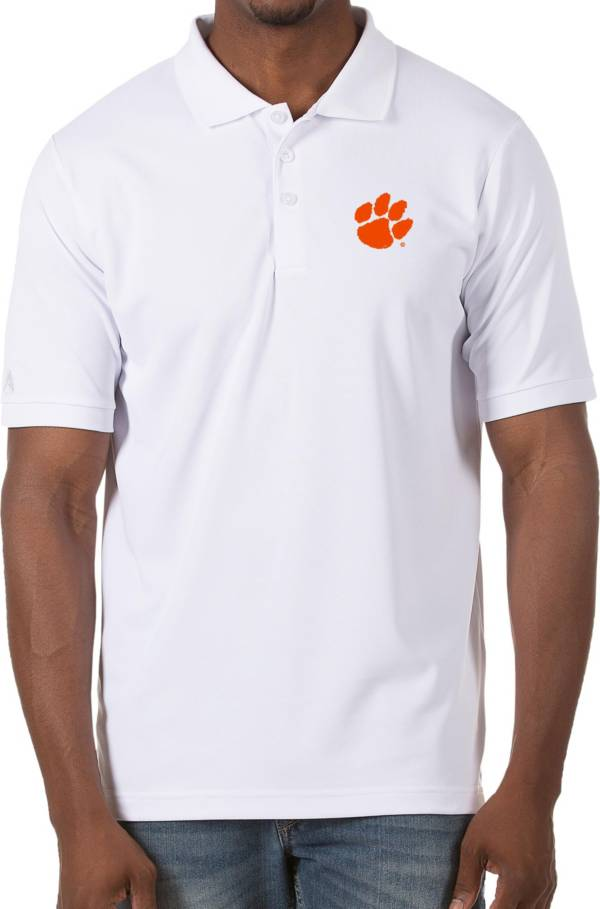 Antigua Men's Clemson Tigers Legacy Pique White Polo product image