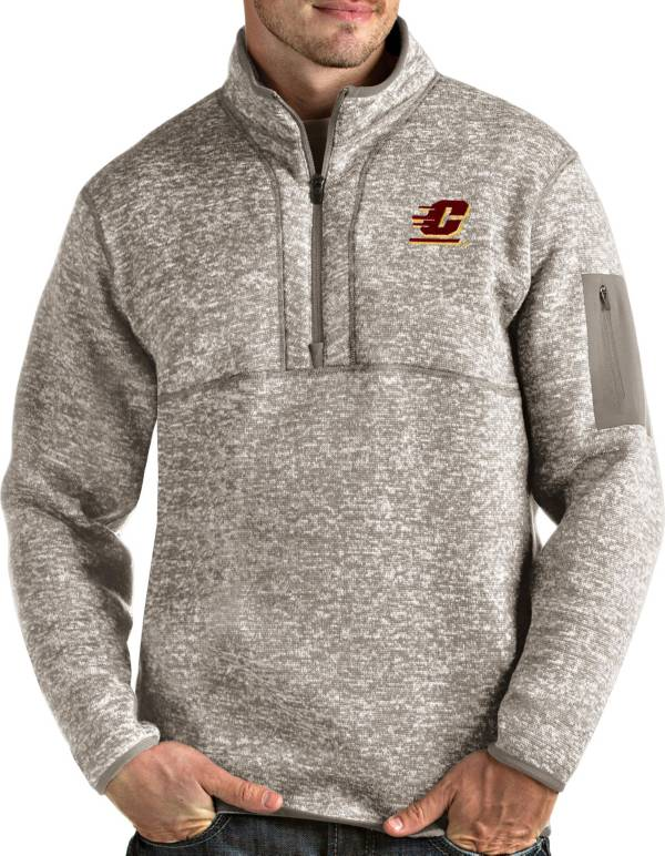 Antigua Men's Central Michigan Chippewas Oatmeal Fortune Pullover Black Jacket product image