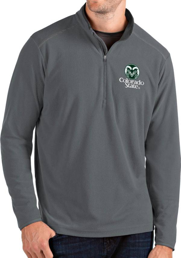 Antigua Men's Colorado State Rams Grey Glacier Quarter-Zip Shirt product image