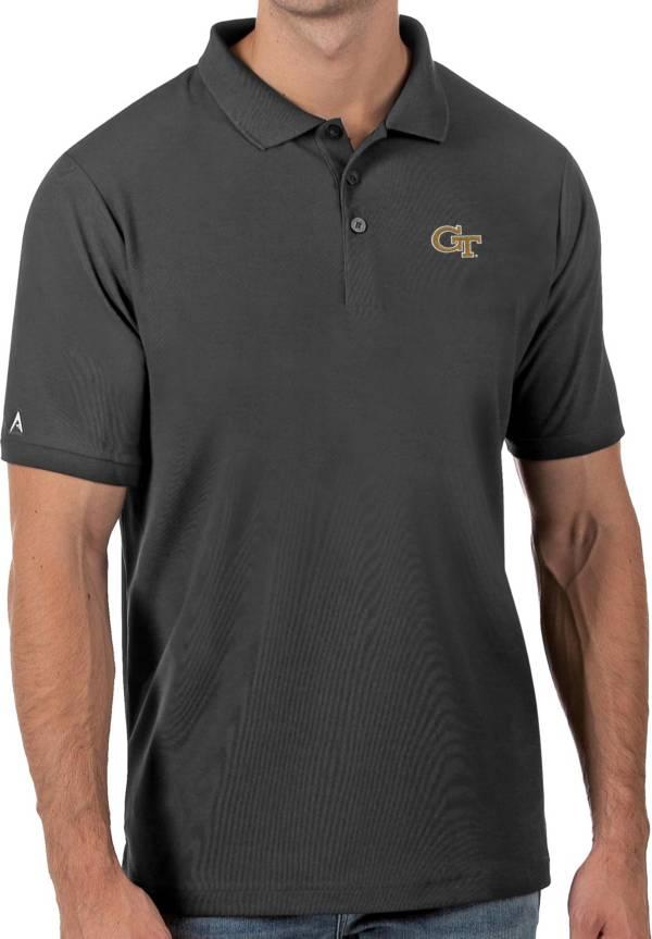 Antigua Men's Georgia Tech Yellow Jackets Grey Legacy Pique Polo product image