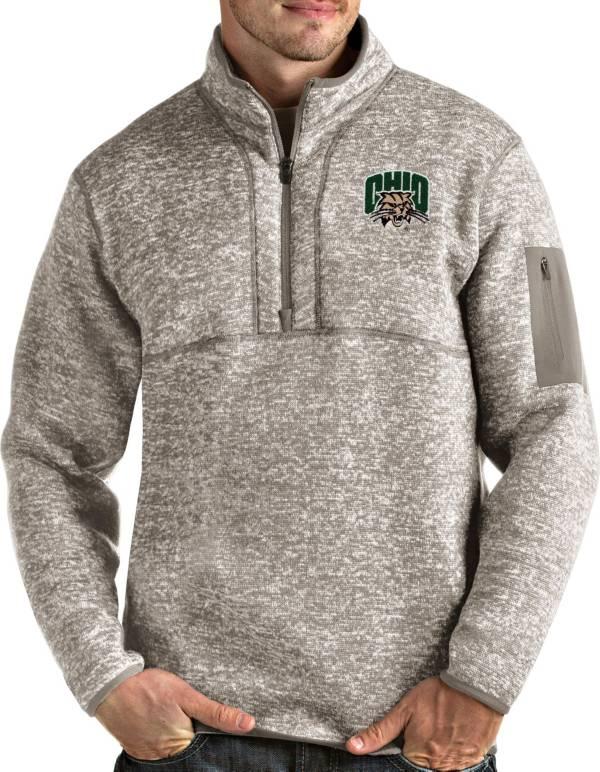Antigua Men's Ohio Bobcats Oatmeal Fortune Pullover Black Jacket product image