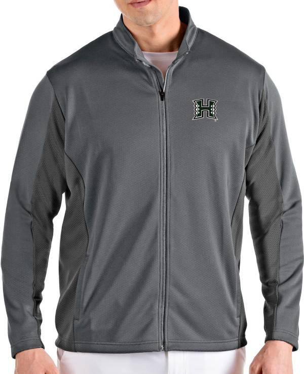 Antigua Men's Hawai'i Warriors Grey Passage Full-Zip Jacket product image