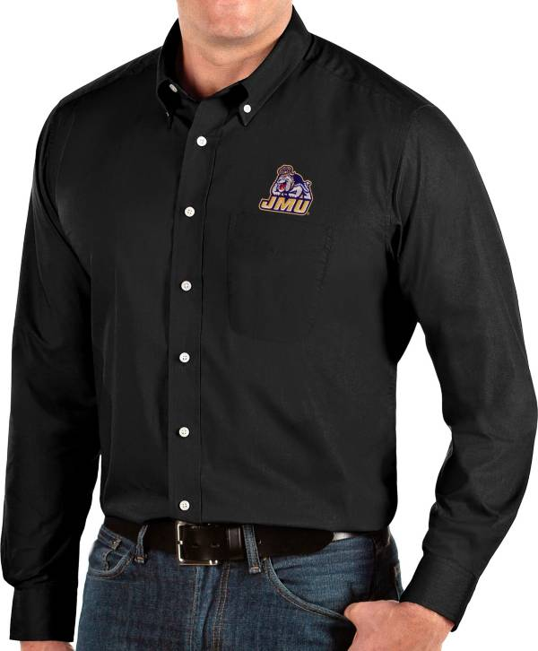 Antigua Men's James Madison Dukes Dynasty Long Sleeve Button-Down Black Shirt product image