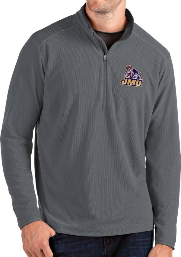 Antigua Men's James Madison Dukes Grey Glacier Quarter-Zip Shirt product image