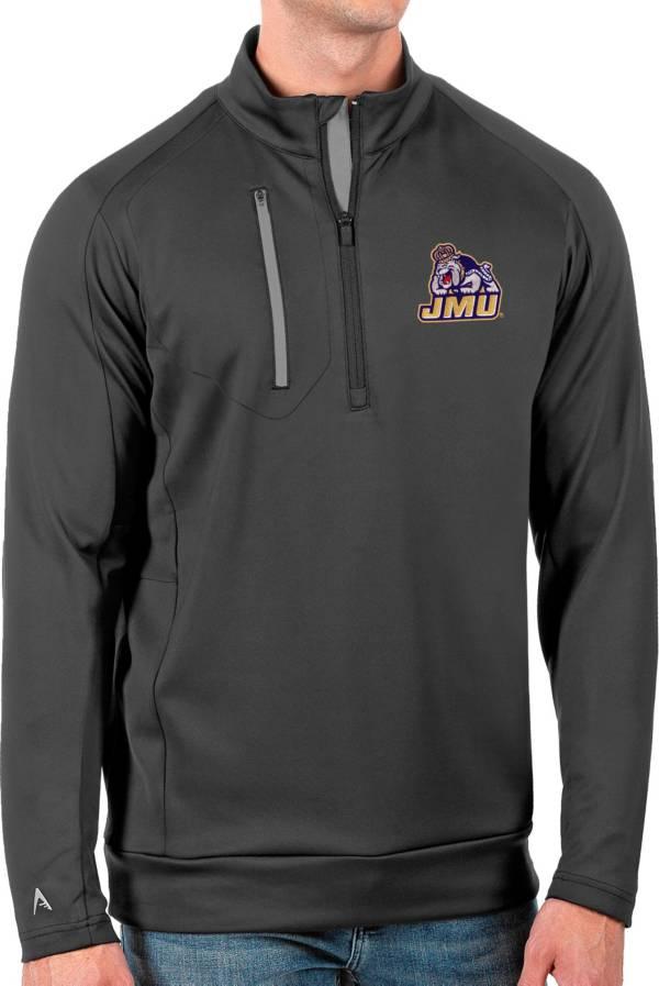 Antigua Men's James Madison Dukes Grey Generation Half-Zip Pullover Shirt product image