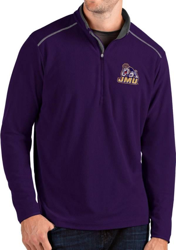 Antigua Men's James Madison Dukes Purple Glacier Quarter-Zip Shirt product image