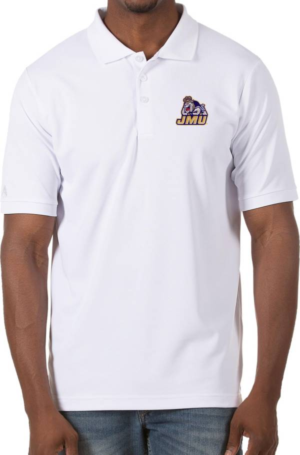 Antigua Men's James Madison Dukes Legacy Pique White Polo product image