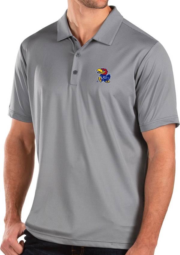 Antigua Men's Kansas Jayhawks Grey Balance Polo product image