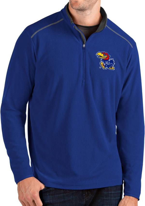 Antigua Men's Kansas Jayhawks Blue Glacier Quarter-Zip Shirt product image