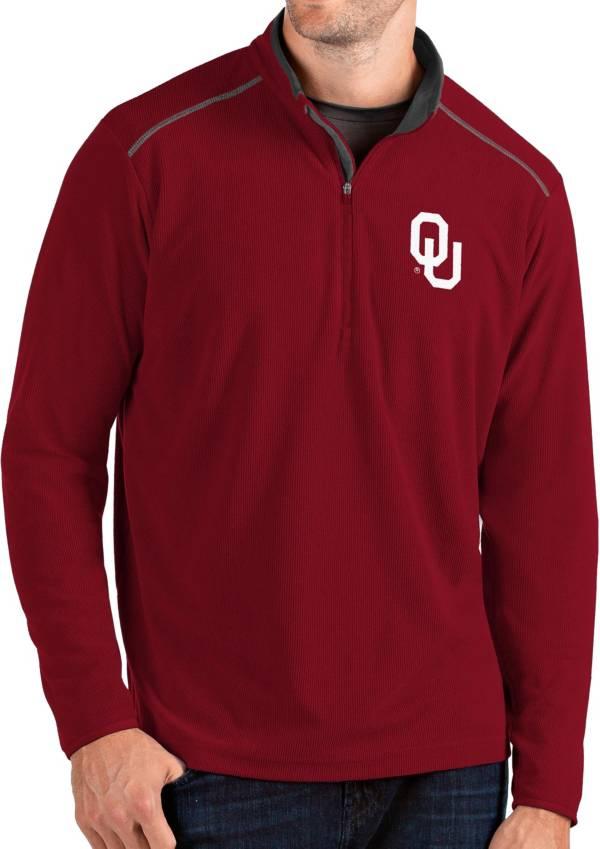 Antigua Men's Oklahoma Sooners Crimson Glacier Quarter-Zip Shirt product image
