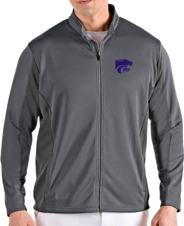 Antigua Men's Kansas State Wildcats Grey Passage Full-Zip Jacket product image