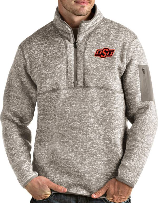 Antigua Men's Oklahoma State Cowboys Oatmeal Fortune Pullover Black Jacket product image