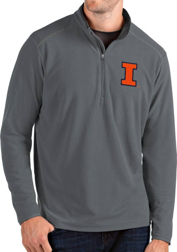 Antigua Men's Illinois Fighting Illini Grey Glacier Quarter-Zip Shirt product image