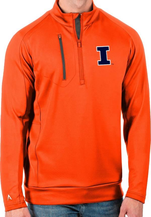 Antigua Men's Illinois Fighting Illini Orange Generation Half-Zip Pullover Shirt product image