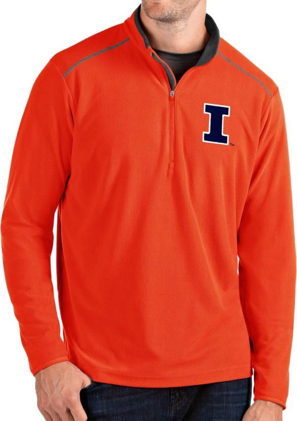 Antigua Men's Illinois Fighting Illini Orange Glacier Quarter-Zip Shirt product image