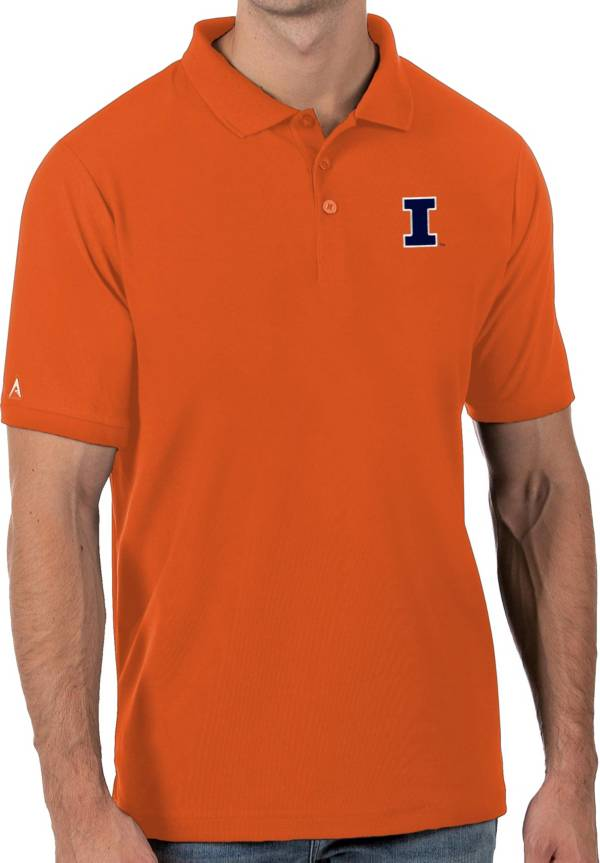 Antigua Men's Illinois Fighting Illini Orange Legacy Pique Polo product image