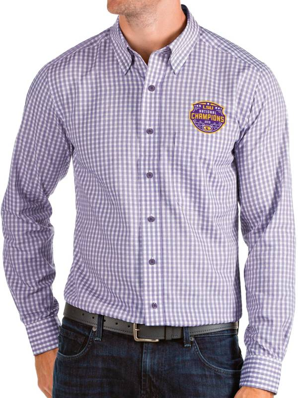 Antigua Men's 2019 National Champions LSU Tigers Purple Structure Button Down Long Sleeve Shirt product image