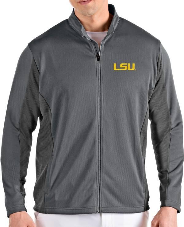 Antigua Men's LSU Tigers Grey Passage Full-Zip Jacket product image
