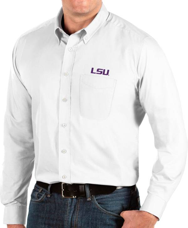 Antigua Men's LSU Tigers Dynasty Long Sleeve Button-Down White Shirt product image