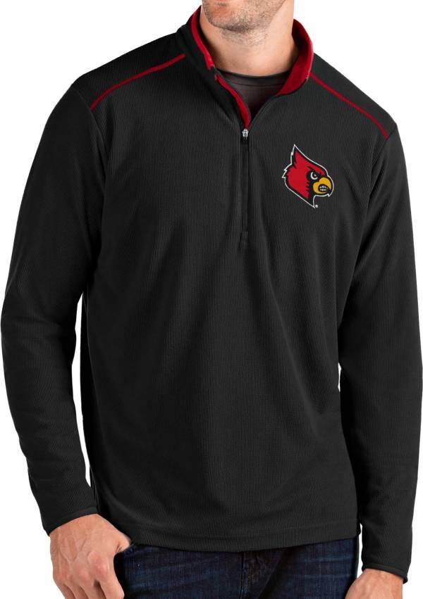 Antigua Men's Louisville Cardinals Glacier Quarter-Zip Black Shirt product image