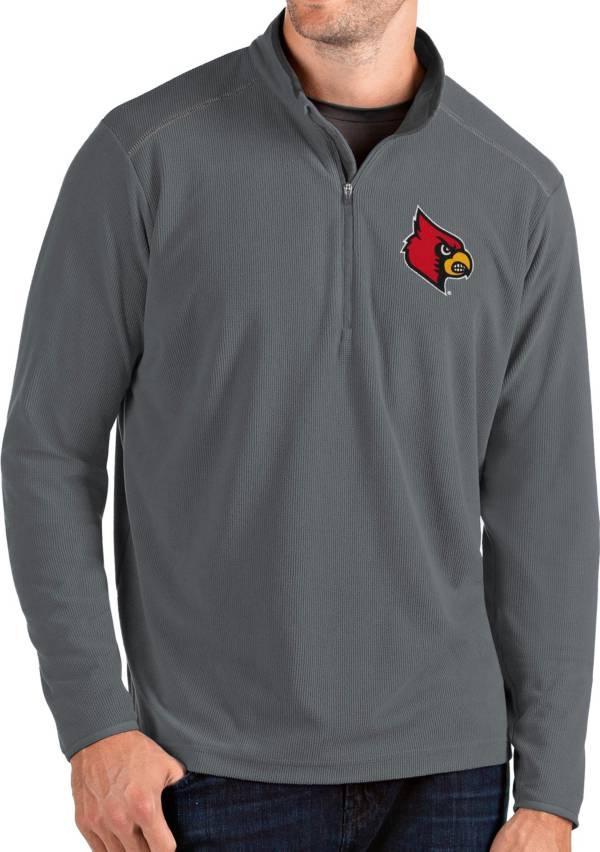 Antigua Men's Louisville Cardinals Grey Glacier Quarter-Zip Shirt product image