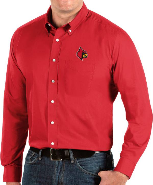 Antigua Men's Louisville Cardinals Cardinal Red Dynasty Long Sleeve Button-Down Shirt product image