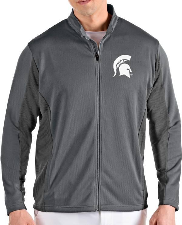 Antigua Men's Michigan State Spartans Grey Passage Full-Zip Jacket product image
