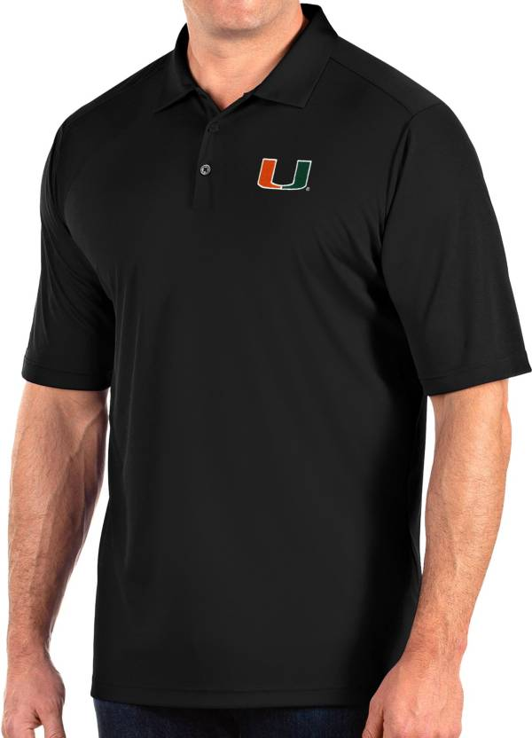 Antigua Men's Miami Hurricanes Tribute Performance Black Polo product image
